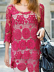 Red Beautiful Flower Crochet Lace Top maglia donna