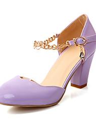 Chunky Heel bico fino couro de patente das mulheres bombeia sapatas (mais cores)