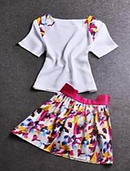 JiaSiMing Set: Splicing drucken Ausgestattet Tops & Blumendruck kurze Röcke (Screen Color)