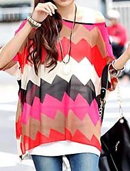 Mulheres Batwing luva Zigzag Stripe solto Top Shirt