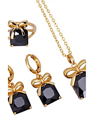 Dang Dang  New Crystal Accessories Three Pieces Set Necklace Bracelet Zircon Earrings Crystal Jewelry Suit DJE0036