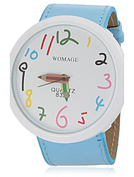 Women's Cute Pencil Pointer Round Dial Pu Band Quartz Analog Wrist Watch (Assorted Colors)