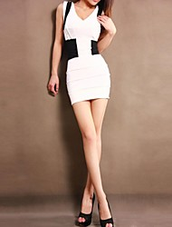 Women's Sexy Black And White Joint Slim Dress