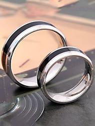 Unisex's Black Stripe Titanium Steel Couple Ring Promis rings for couples