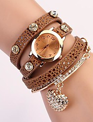 C&D Fashion Women Dress Watches Heart-shaped Diamond Pendant Leather Strap Watches XK-74