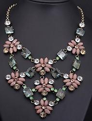 luxo colorido flor gemstone colar das mulheres