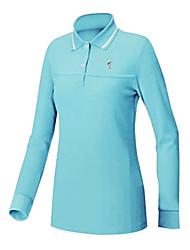 TTYGJ Women's Polyester+Spandex Long Sleeve Blue Golf Shirt