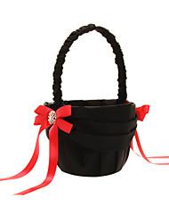 panier de fleurs en satin noir avec des arcs rouges et polyester noir baguage fille fleur panier