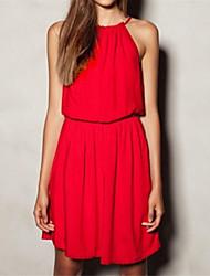 Women's Solid Black/Blue/Pink/Red/White/Yellow Dress , Beach Strap Sleeveless