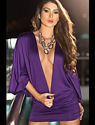 Qnei&A Sexy Night Club Style Bodycon Dress(Purple)
