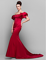Formal Evening Dress - Plus Size / Petite Trumpet/Mermaid Off-the-shoulder Court Train Satin