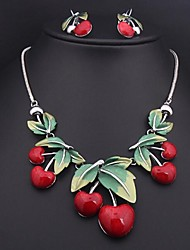 Women's  Cherry Color (Necklace&Earring)Jewelry Sets