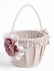 Elegant Linen With Lace Flower Wedding Flower Basket Flower Girl Basket