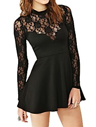 Women's Solid/Lace Black Dress , Sexy Crew Neck Long Sleeve Lace/Pleated