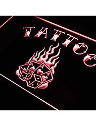 tatuaje 4 de los dados de póker signo luz de neón