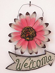 Wooden Coloured Drawing Or Pattern, Wrought Iron Daisies in The Shape Of A Welcome Card