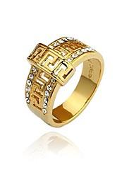 Урожай африканского Unisex Кольца Ювелирные изделия от дизайнеров Мужская 24K горный хрусталь Real Gold Глядя кольцо