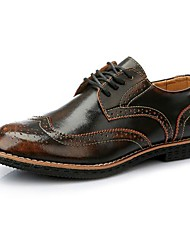 Men's Spring Summer Fall Novelty Patent Leather Office & Career Flat Heel Lace-up Tan Burgundy