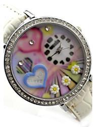 Frauen Sweet Heart Vorwahlknopf PU-Band Quarz-Armbanduhr (verschiedene Farben)