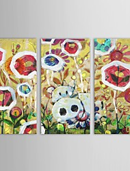Hand Painted Oil Painting Floral Flower Garden  with Stretched Frame Set of 3