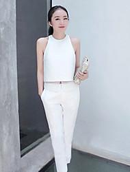 JiaSiMing Set: Rodada tops sem mangas e gola Skinny calças compridas (branco)