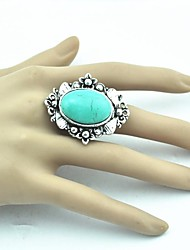 Toonykelly® Vintage  Female Tibet Alloy Turquoise Adjustable Ring (Green)(1pcs)