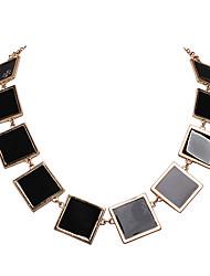 JANE STONE Square Cham Vintage Necklace(Black)
