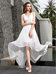 A-Line V-neck Asymmetrical Georgette Wedding Dress with Ruche Side-Draped by LAN TING BRIDE®