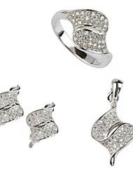 Plata 925 de la manera del cobre plateado del pendiente del anillo de circón y Colgantes Set