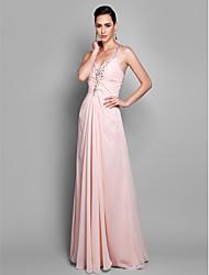 Mantel / Spalte Spaghetti Riemen Boden Länge Chiffon Prom Kleid mit Perlen von ts Couture ®