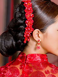 Elegant Chinese Red Headdress for Weddings