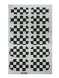 12PCS noir et blanc classique places de conception Pro-environnement Nail Art Stickers