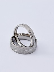 Fashion Cutting Line Titanium Steel Scrub Couple Rings