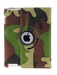 Kinston 360 degrés motif de camouflage rotatif cuir PU complet du corps avec support pour iPad 2/3/4