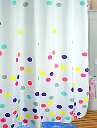 Shower Curtain Polyester Colourful Dots Print Thick Fabric Water-2 Sizes Available