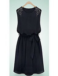 KICAI  Beads Sleeveless Vest Chiffon Dress(Black)