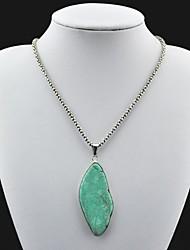 Toonykelly ® Vintage Antique Silver Flat irregular collar de la turquesa (verde) (1 PC)