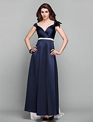 Vestito - Blu marino scuro Sera/Graduazione/Ballo Militare Tubino V Sweep / treno pennello Raso