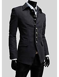 LangTuo Korean Simple Button Stand Collar Jacket(Dark Gray)