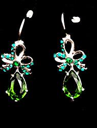 Frozen Elsa Queen Elegant Green Zircon Pattern Earrings Cosplay Accessory