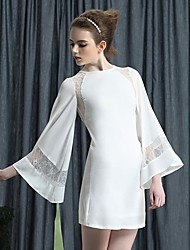 Women's Solid White Dress , Vintage Crew Neck Long Sleeve Lace