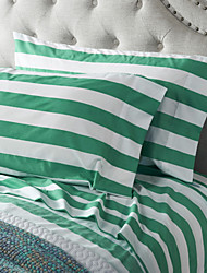 Thick Green Stripe Sheet Set,4 Pieces 100% Cotton