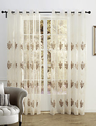 Country Two Panels Floral  Botanical Beige Bedroom Polyester Sheer Curtains Shades