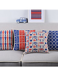 Set of 4 UK Life Cotton/Linen Decorative Pillow Cover