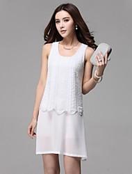 Women's Dress Above Knee Sleeveless White / Black Spring / Summer