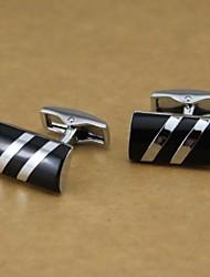 Längliche Solid Black and Silver Bar Pattern Manschettenknöpfe Herren Manschettenknöpfe (1 Paar)