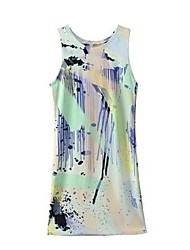 Women's Cute Dress Mini Sleeveless Multi-color Summer