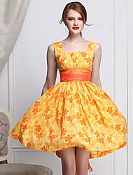 Mulheres de impressão bonito Daisy Vestido Retro