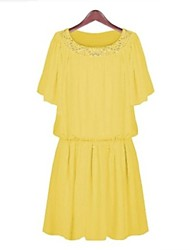 New 2014 Summer High Quality Fashion Casual Loose Plated A-line Pleated Chiffon Dress