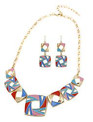 Strand Collar y Pendientes cúbicos Hollow Conjunto de joyas